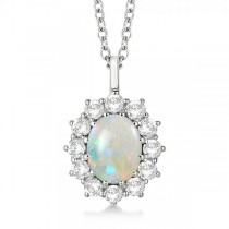 Oval Shape Opal & Diamond Pendant Necklace 14k White Gold (3.60ctw)