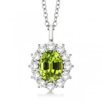 Oval Peridot & Diamond Pendant Necklace 14k white Gold (3.60ctw)