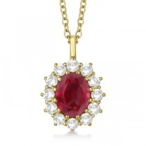 Oval Ruby & Diamond Pendant Necklace 18k Yellow Gold (3.60ctw)