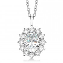 Oval Moissanite and Diamond Pendant Necklace 14k White Gold (3.60ctw)