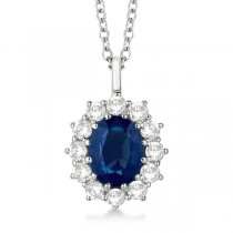 Oval Blue Sapphire & Diamond Pendant Necklace 14k White Gold (3.60ctw)