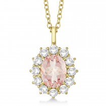 Oval Morganite and Diamond Pendant Necklace 14k Yellow Gold (3.60ctw)