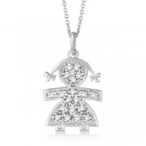 Pave-Set Diamond Girl Shape Pendant Necklace 14K White Gold (0.15ct)