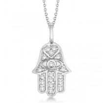 Diamond Hamsa Pendant Necklace 14k White Gold (0.16ct)