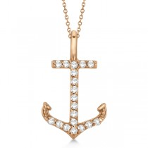 Anchor Diamond Pendant Necklace 14K Rose Gold (0.10ct)