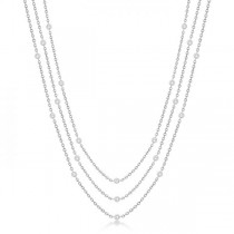 Three-Strand Diamond Station Necklace in 14k White Gold (1.40ct)