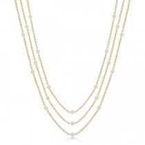 Three-Strand Diamond Station Necklace in 14k Yellow Gold (1.40ct)