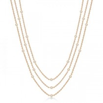 Three-Strand Diamond Station Necklace in 14k Rose Gold (3.01ct)
