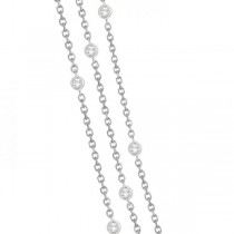 Three-Strand Diamond Station Necklace in 14k White Gold (4.50ct)