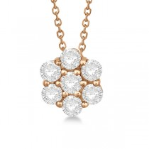 Cluster Diamond Flower Pendant Necklace 14K Rose Gold (0.50ct)