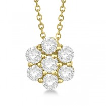 Cluster Diamond Flower Pendant Necklace 14K Yellow Gold (1.00ct)