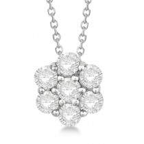 Cluster Diamond Flower Pendant Necklace 14K White Gold (1.50ct)
