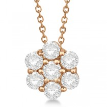 Cluster Diamond Flower Pendant Necklace 14K Rose Gold (1.75ct)