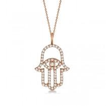 Diamond Hamsa Evil Eye Pendant Necklace 14k Rose Gold (0.51ct)