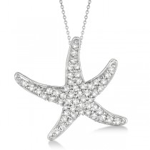 Diamond Starfish Pendant Necklace 14k White Gold (0.55ct)