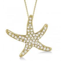 Diamond Starfish Pendant Necklace 14k Yellow Gold (0.55ct)