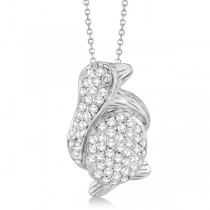 Pave Diamond Penguin Pendant Necklace 14K White Gold (0.61ct)
