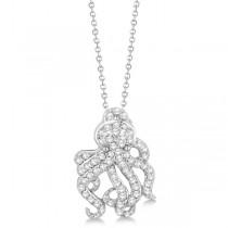 Pave Diamond Octopus Pendant Necklace 14K White Gold (0.61ct)