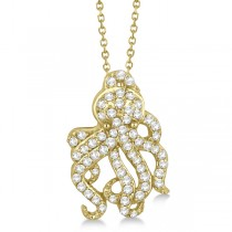 Pave Diamond Octopus Pendant Necklace 14K Yellow Gold (0.61ct)