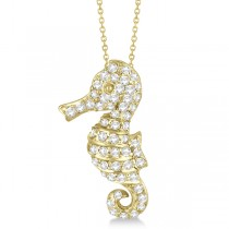 Pave Diamond Seahorse Pendant Necklace 14K Yellow Gold (0.64ct)
