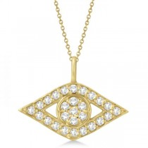 Evil Eye Diamond Pendant Necklace in 14k Yellow Gold Pave Set (0.50ct)