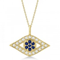 Evil Eye Diamond & Sapphire Pendant Necklace 14k Yellow Gold (0.50ct)