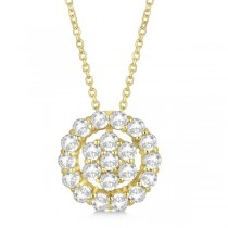 Pave Diamond Halo & Cluster Pendant Necklace14k Yellow Gold 1.00ct