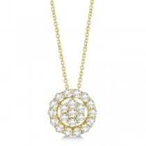 Pave Diamond Halo & Cluster Pendant Necklace 14k Yellow Gold 0.33ct