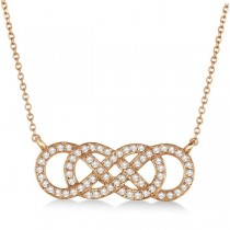 Multiple Infinity Diamond Pendant Necklace 14k Rose Gold 0.34ct.
