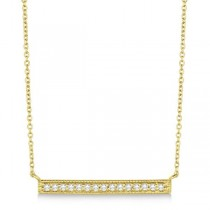 Pave Set Horizontal Diamond Bar Necklace 14k Yellow Gold 0.15ct