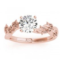 Solitaire Tulip Vine Leaf Engagement Ring Setting 18k Rose Gold