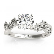 Solitaire Tulip Vine Leaf Engagement Ring Setting Platinum