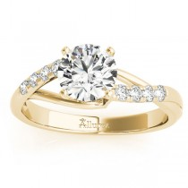Diamond Accented Bypass Engagement Ring Setting 14k Yellow Gold (0.20ct)
