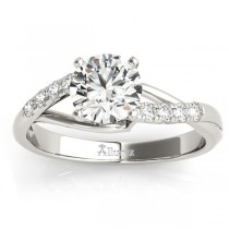 Diamond Accented Bypass Engagement Ring Setting Platinum (0.20ct)