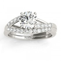 Diamond Accented Bypass Bridal Set Setting 18k White Gold (0.38ct)