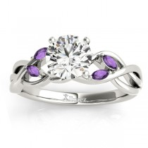 Amethyst Marquise Vine Leaf Engagement Ring 14k White Gold (0.20ct)