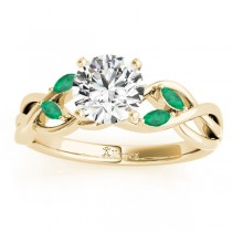 Emerald Marquise Vine Leaf Engagement Ring 18k Yellow Gold (0.20ct)