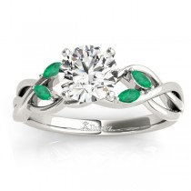 Emerald Marquise Vine Leaf Engagement Ring Platinum (0.20ct)