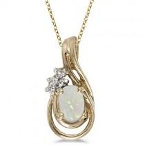 Oval Opal & Diamond Teardrop Pendant Necklace 14k Yellow Gold