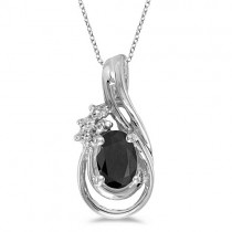 Black Onyx & Diamond Teardrop Pendant Necklace 14k White Gold (0.59ct)