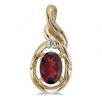 Oval Garnet & Diamond Pendant Necklace 14k Yellow Gold (0.55ctw)