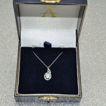 Oval Opal & Diamond Pendant Necklace 14k White Gold (0.55ct)