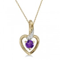 Amethyst and Diamond Heart Pendant Necklace 14k Yellow Gold