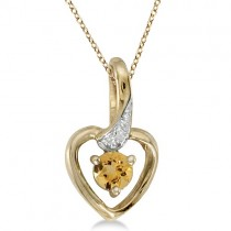 Round Citrine and Diamond Heart Pendant Necklace 14k Yellow Gold