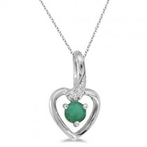 Emerald and Diamond Heart Pendant Necklace 14k White Gold
