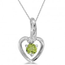 Peridot and Diamond Heart Pendant Necklace 14k White Gold
