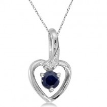 Blue Sapphire and Diamond Heart Pendant Necklace 14k White Gold