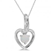 Opal and Diamond Heart Pendant Necklace 14k White Gold