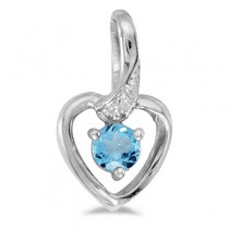 Blue Topaz and Diamond Heart Pendant Necklace 14k White Gold