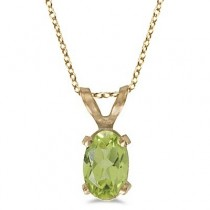 Oval Peridot Solitaire Pendant Necklace in 14K Yellow Gold (0.55ct)